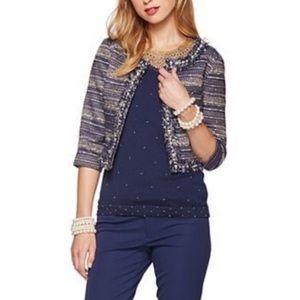 Lilly Pulitzer Navy Tweed Pearls Hagen Jacket 4